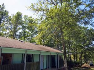 Le toit du bloc sanitaire est nettoyé