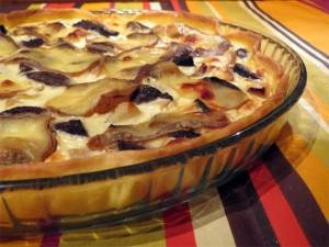 Zoom sur la tarte au boudin, pomme et trappe d'échourgnac