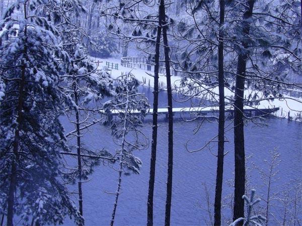 Un ponton sous la neige