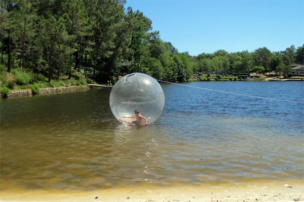 Une bulle sur l'étang de baignade